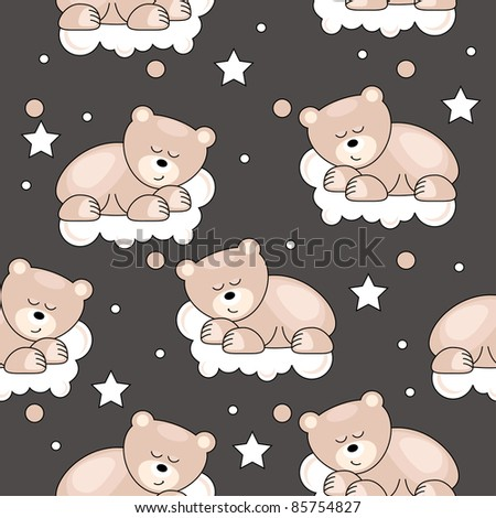 Seamless pattern with small bear sleeping on cloud - stock vector