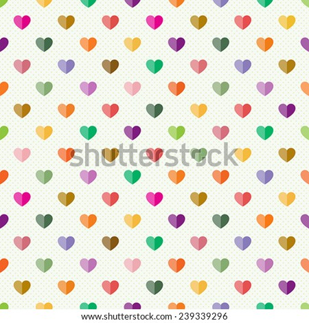 Seamless pattern with small multicolour hearts on light background - stock vector