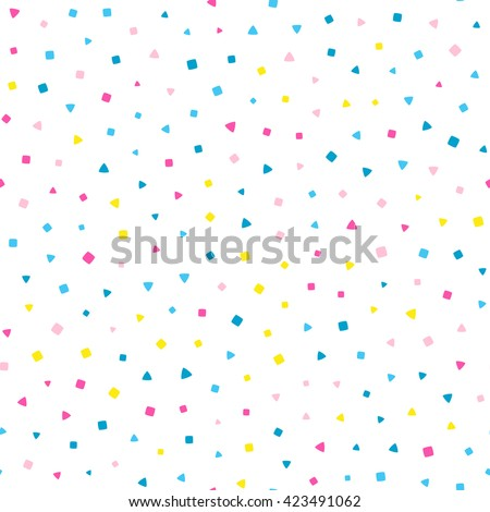 Seamless pattern with small squares and triangles on a white background