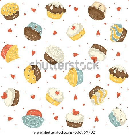 Seamless pattern with smiling kawaii style muffins on a white background with red hearts and dots