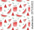 Seamless pattern with smoothie and fruits. Vector hand drawn illustration. Used for kitchen, cafe stuff, wallpaper, pattern fills, web page background, surface textures. - stock vector
