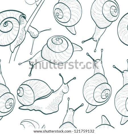 Seamless pattern with snails - stock vector