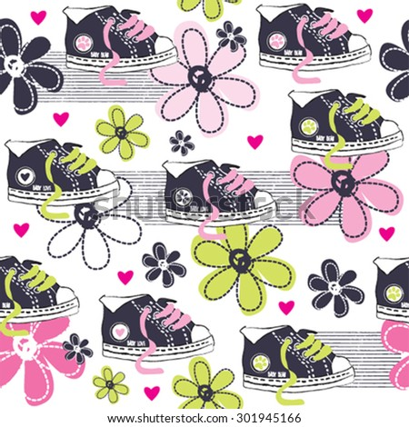 seamless pattern with sneakers and flowers vector illustration - stock vector