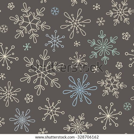 Seamless pattern with snowflakes for Christmas, New Year and winter design - stock vector