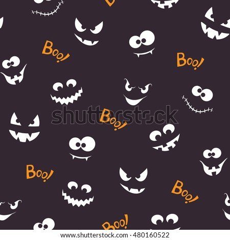Seamless pattern with spooky and crazy faces in the dark and Boo! lettering for Halloween design
