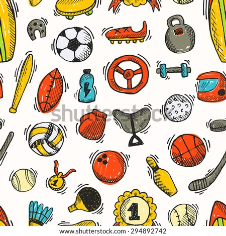 Seamless pattern with sports element. Vector illustration. Tennis, surfing, fitness, boxing, bowling, baseball, hockey, golf, football, basketball, volleyball, soccer, ping pong, rugby and other. - stock vector