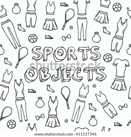 Seamless pattern with sports objects. Vector illustration. - stock vector