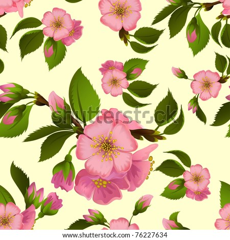 Seamless pattern with spring apple blossom - stock vector