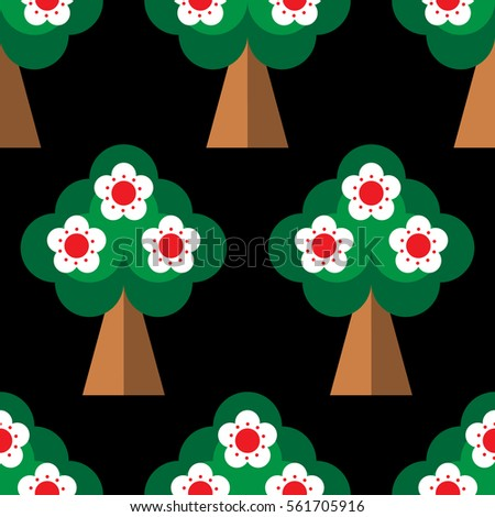 Seamless pattern with Spring blooming orchard in flat style. Flowering trees isolated on the black background. Vector.
