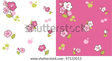 Seamless pattern with spring cherry blossoms - stock vector