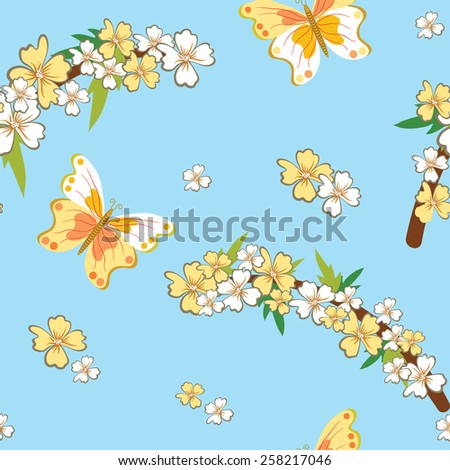 Seamless pattern with spring theme. The original design with flowers, branches and butterflies on a blue sky background. Vector illustration. - stock vector