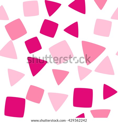 Seamless pattern with squares and triangles on a white background. Vector repeating texture. - stock vector