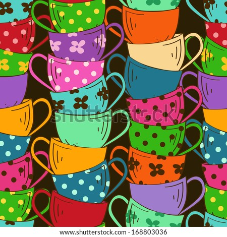 Seamless pattern with stack of colorful tea cups - stock vector