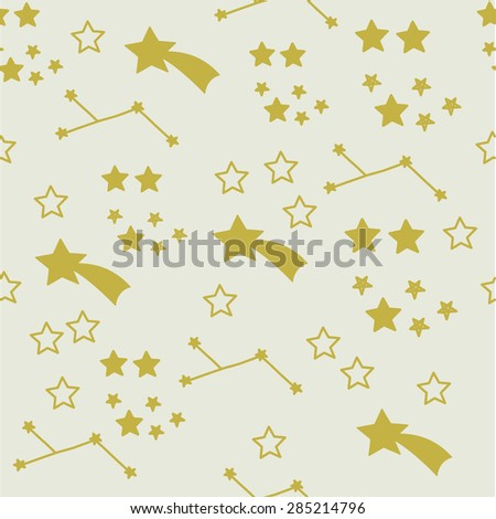 Seamless pattern with stars and constellation.Vector illustration. EPS 8 - stock vector