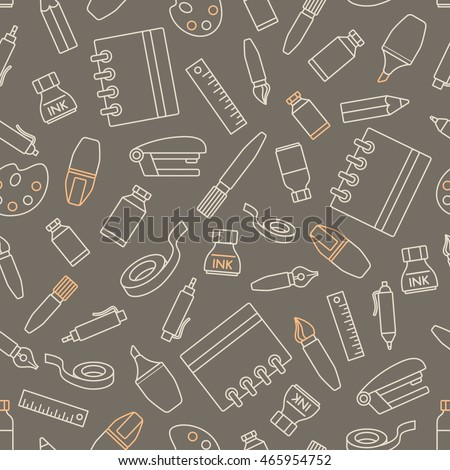 Seamless pattern with stationery design element. Various school supplies and stationery on gray background.