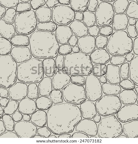 Seamless pattern with stones. Vector background with h pebble  - stock vector