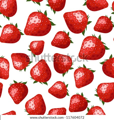 Seamless pattern with strawberries. Vector illustration. - stock vector