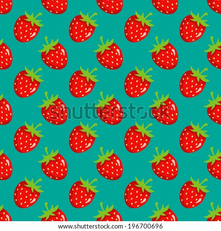 Seamless pattern with strawberry on green background. - stock vector