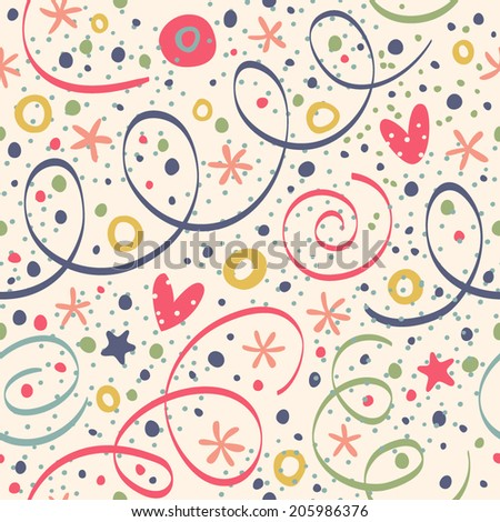 Seamless pattern with streamers and confetti. - stock vector