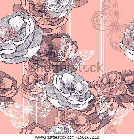 Seamless pattern with striped background, roses and butterflies. Vector illustration. - stock vector