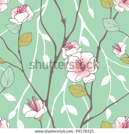 Seamless pattern with styled spring blossoms - stock vector