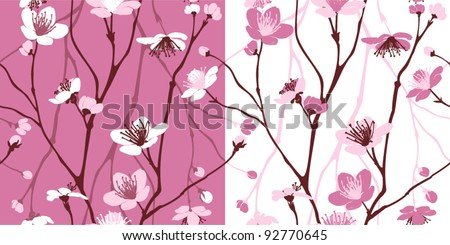 Seamless pattern with styled spring cherry blossoms - stock vector