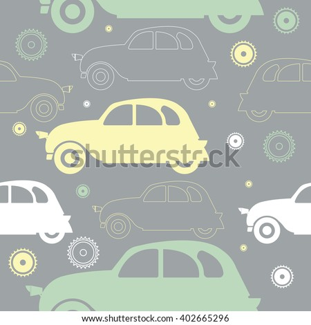 Seamless pattern with stylish colorful cars and decorative objects can be used for linen, tile, cover, design fabric and more designs. - stock vector