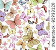 Seamless pattern with stylized butterflies - stock vector