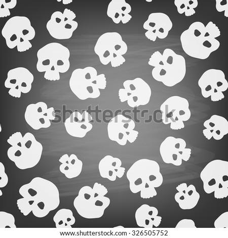 Seamless pattern with stylized human skulls on chalkboard. Halloween background. - stock vector