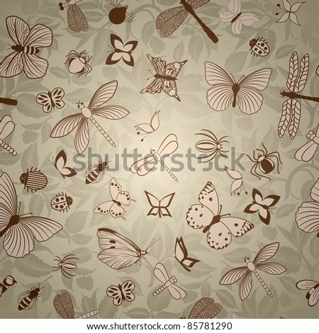Seamless pattern with stylized insects - stock vector