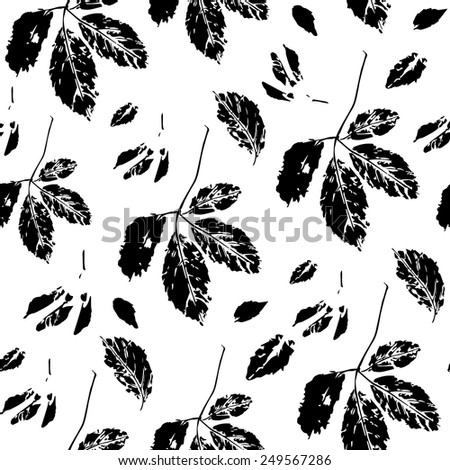 Seamless pattern with stylized leaves of wild grape - stock vector