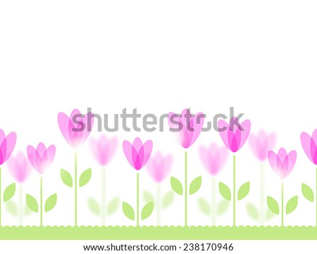 Seamless pattern with stylized pink flowers on green lawn - stock vector