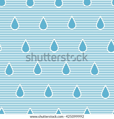 Seamless pattern with stylized raindrops in stripped background. - stock vector