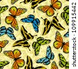 Seamless pattern with stylized vector butterflies - stock vector