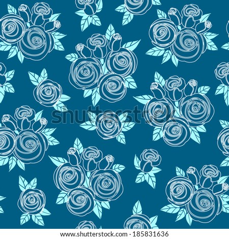 Seamless pattern with stylized white outline roses on a blue green background