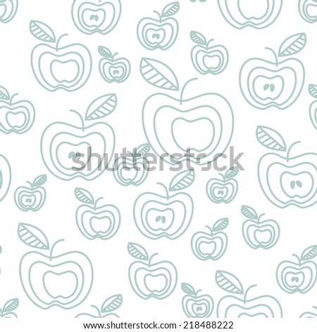 Seamless pattern with stylzed apples. Vector cute texture. Childish pastel print - stock vector