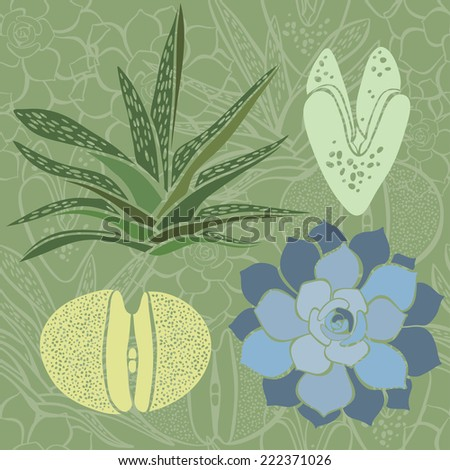 Seamless pattern with succulents. - stock vector