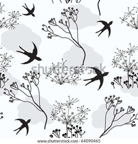Seamless pattern with swallows and dry flowers - stock vector