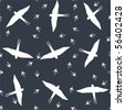 Seamless pattern with swallows in flight - stock