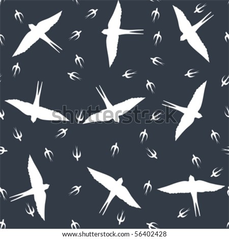 Seamless pattern with swallows in flight - stock vector
