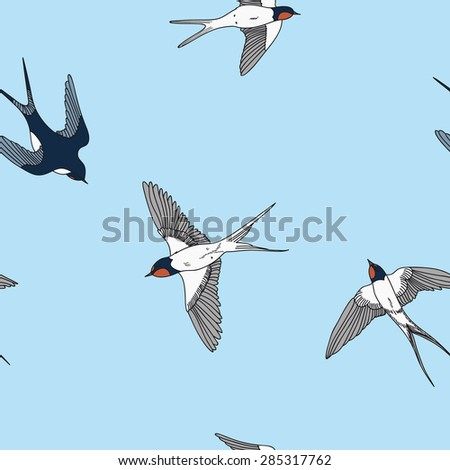 Seamless pattern with swallows, vector illustration - stock vector