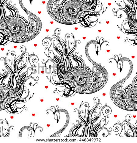 Seamless pattern with swans and red hearts. Vector illustration, wallpaper texture on white  background. - stock vector