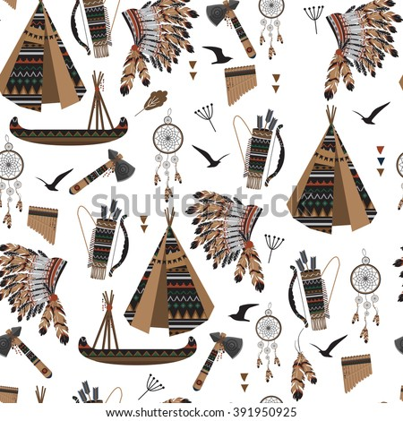 Seamless pattern symbols american indians native stock for Indian hat template