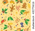 Seamless pattern with symbols of Christmas - stock vector