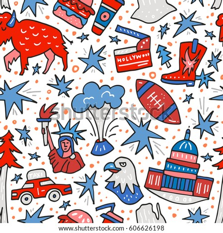 Seamless Pattern Symbols United States America Stock Vector 2018