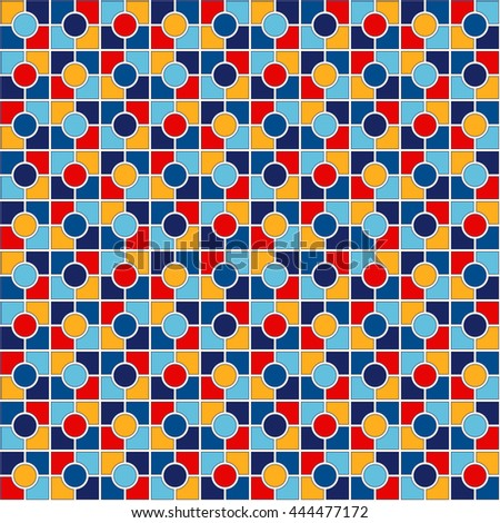 Seamless pattern with symmetric geometric ornament. Abstract repeated bright blocks background. Vector illustration