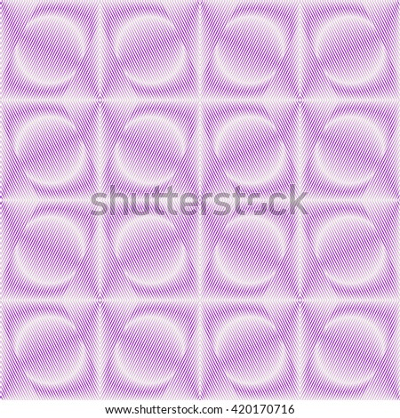 Seamless pattern with symmetric geometric ornament. Purple violet sharp lines and round spheres abstract background. 3d optical illusion effect wallpaper. Vector illustration - stock vector