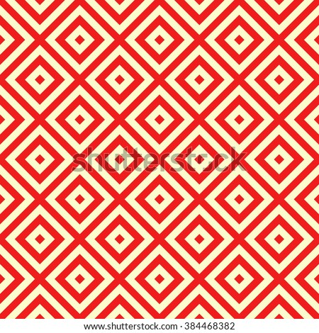 Seamless pattern with symmetric geometric ornament. Striped red white abstract background. Abstract repeated  wallpaper. Vector illustration - stock vector