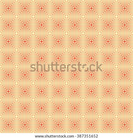 Seamless pattern with symmetric geometric ornament. Striped red white abstract background. Abstract repeated squares wallpaper. Vector illustration - stock vector