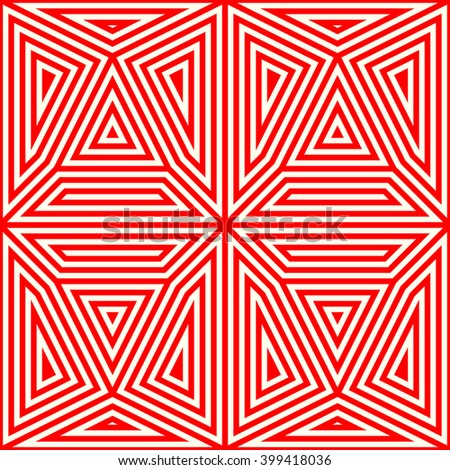 Seamless pattern with symmetric geometric ornament. Striped red white abstract background. Abstract repeated triangles wallpaper. Vector illustration - stock vector